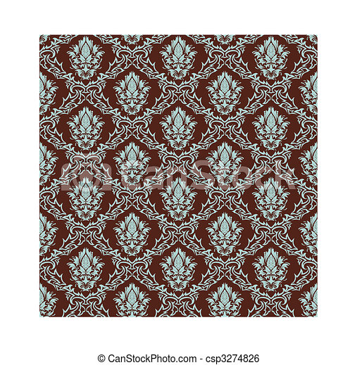 seamless damask pattern - csp3274826