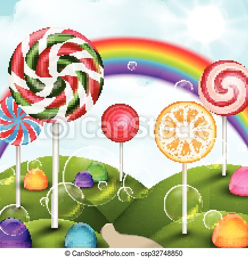 Clipart Vector of Candy garden background Illustration of Candy