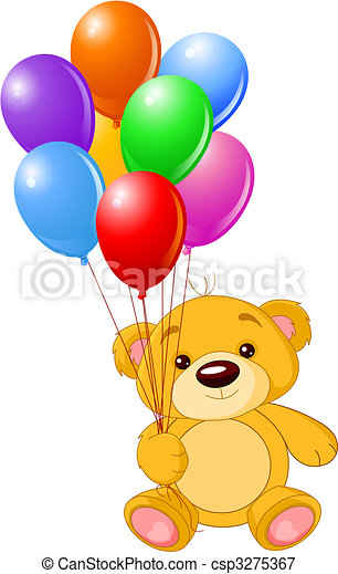 Teddy bear holding colorful balloons - csp3275367