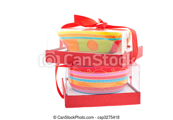 Pictures of two bright colored dishes in boxes - two bright ...