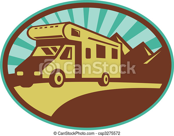 Camper van traveling with mountains and sunburst in the background set inside an oval. - csp3275572