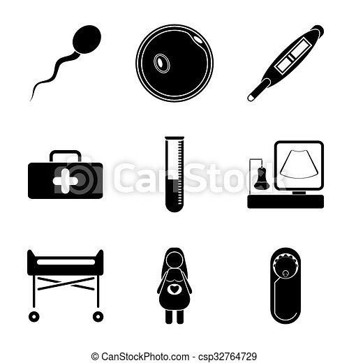 Pregnancy flat icon set isolated on white background - csp32764729