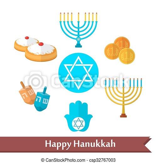 Happy Hanukkah flat vector icon set - csp32767003