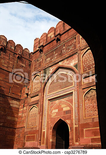 Entrance Gate in Agra fort - csp3276789