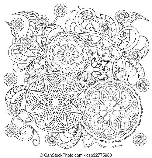 bilder von blumen mandalas hand gezeichnet dekoriert bild mit csp32775980 suchen. Black Bedroom Furniture Sets. Home Design Ideas