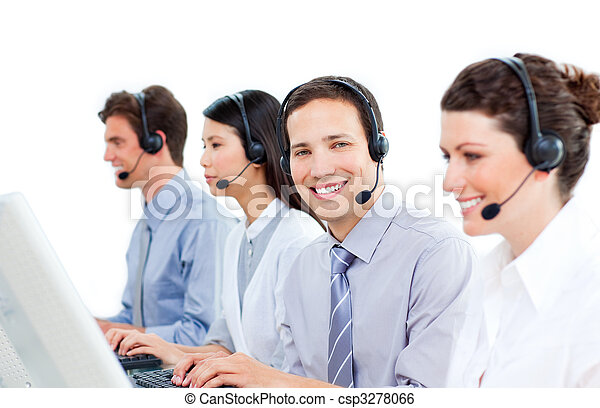 Confident customer service agents working in a call center - csp3278066
