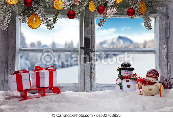Photos de d coration atmosph rique fen tre rebord no l for Decoration rebord fenetre noel