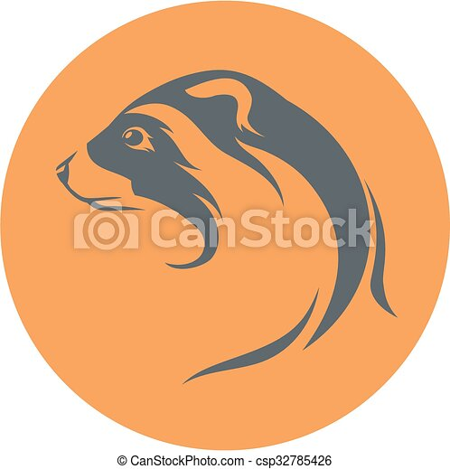Ferret icon and silhouette. - csp32785426