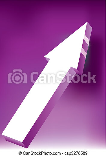Vector Onward & Upward Arrow on purple background - 3D Glossy Icon - csp3278589