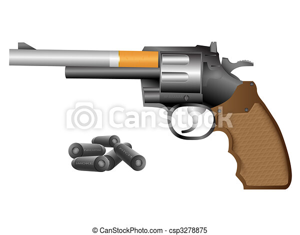 Revolver and cigarette - csp3278875