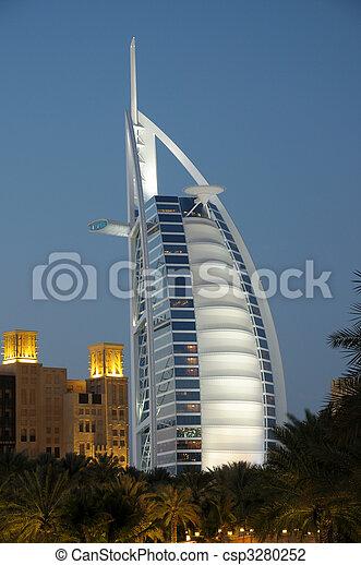 Burj al Arab at night. Dubai United Arab Emirates