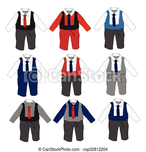 EPS Vectors of Tuxedo Baby boy Formal wear Wedding Party with bow ...