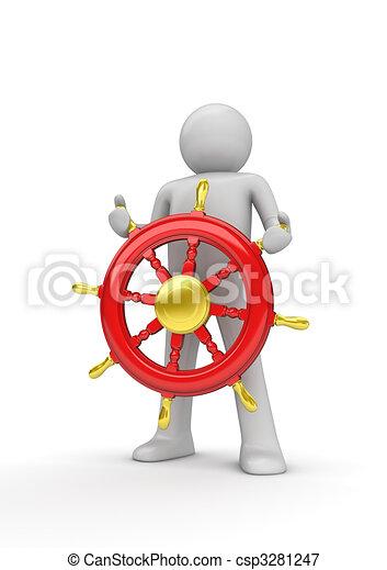 Happy captain steering the wheel - csp3281247