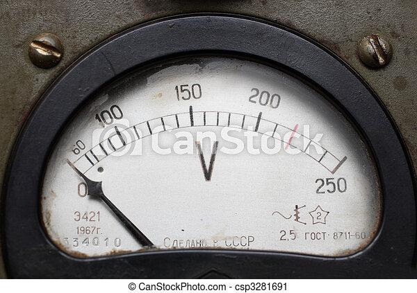 old electric voltmeter - csp3281691