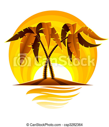 tropical palm on island in ocean with sunset - csp3282364