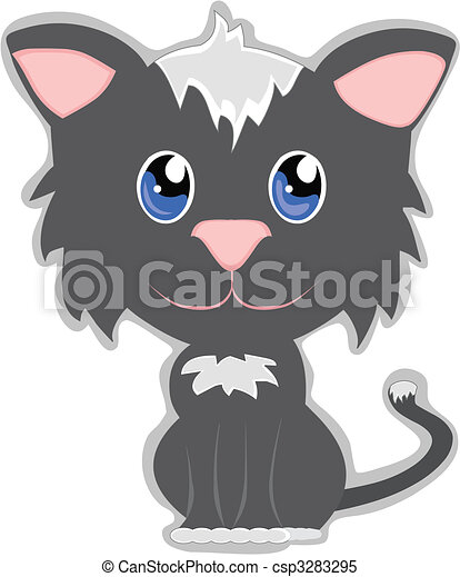 Cute Cat with big head and little adorable body - csp3283295