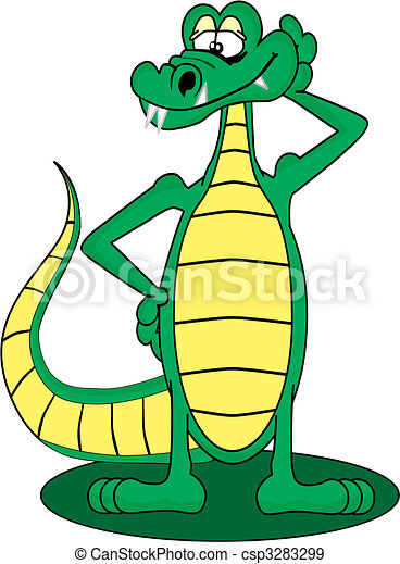 Cartoon Gator standing up and posing with a smile - csp3283299