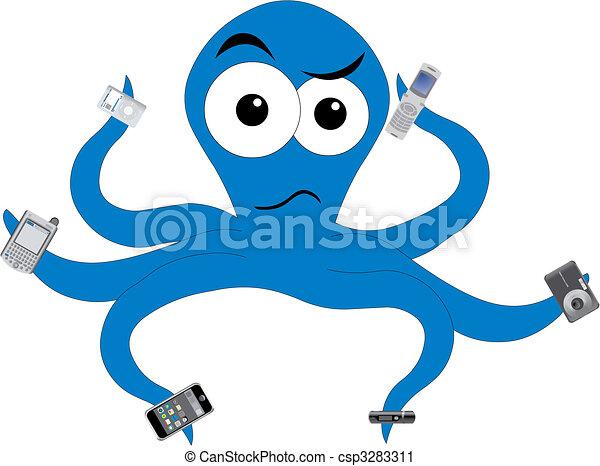Octopus in tech confusion - csp3283311