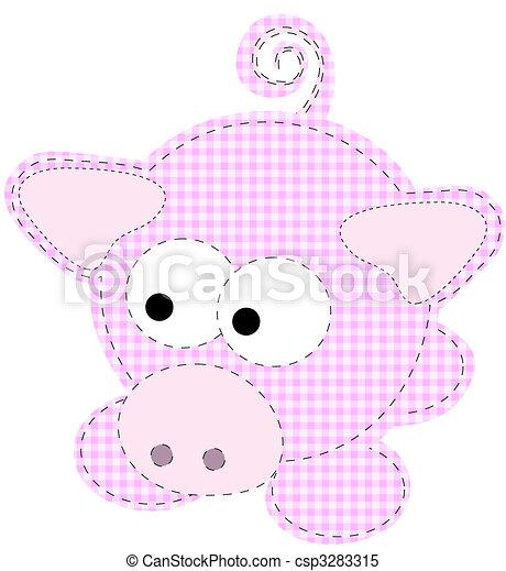 Patchwork Piggy Craft Cartoon Pig Vector - csp3283315