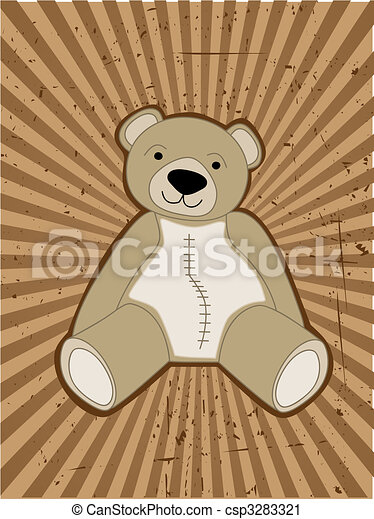 Teddy Bear accented against grungy ray beam - csp3283321