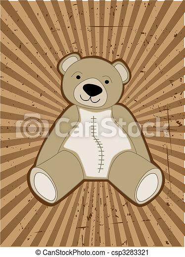 Teddy Bear accented against grungy ray beam - csp3283321