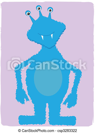 Friendly Blue Monster  - csp3283322