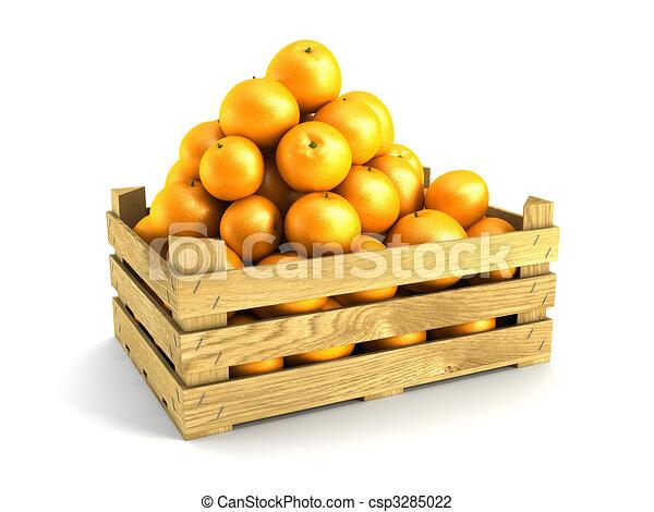 wooden crate full of oranges - csp3285022
