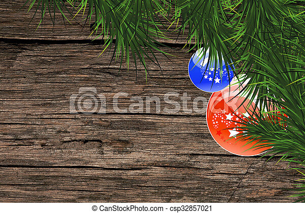 Christmas fir tree on a wooden back - csp32857021