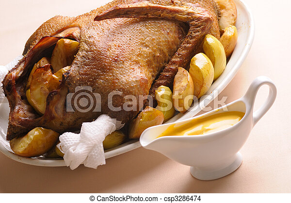 Roasted goose with apples - csp3286474