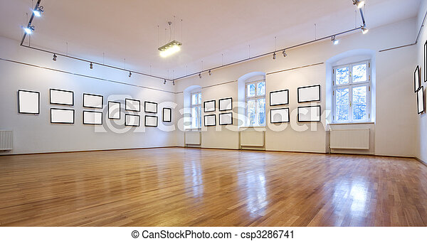 Art gallery with blank pictures - csp3286741