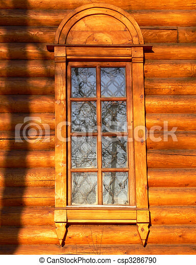 Old wooden church window - csp3286790
