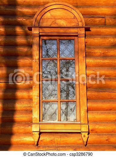 Old wooden church window - csp3286790