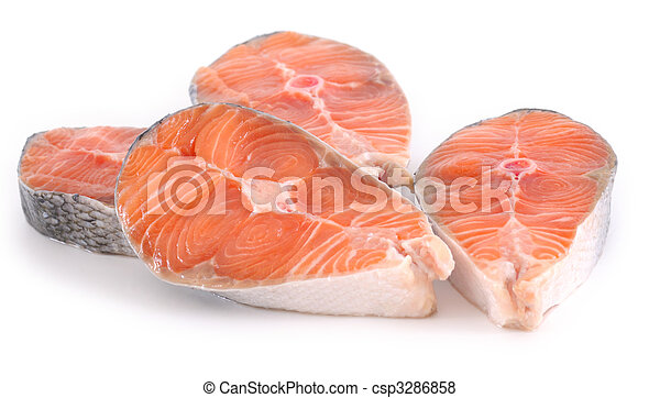 raw salmon steaks on white background - csp3286858