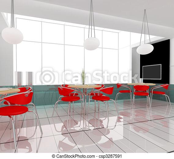 현대, 카페 - 식사하는, 테이블, 현대, 카페,... csp3287591의 클립 ...