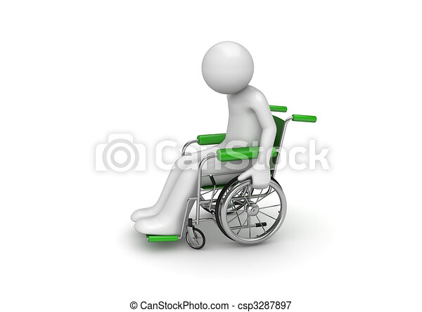 Disabled person on a wheeled chair - csp3287897