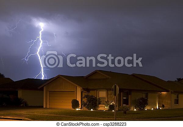 Massive lightning strike at night very near homes - csp3288223