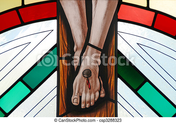 Stained glass window of the crucifixion of Jesus - csp3288323