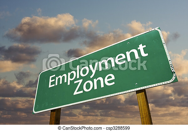 Employment Zone Green Road Sign and Clouds - csp3288599