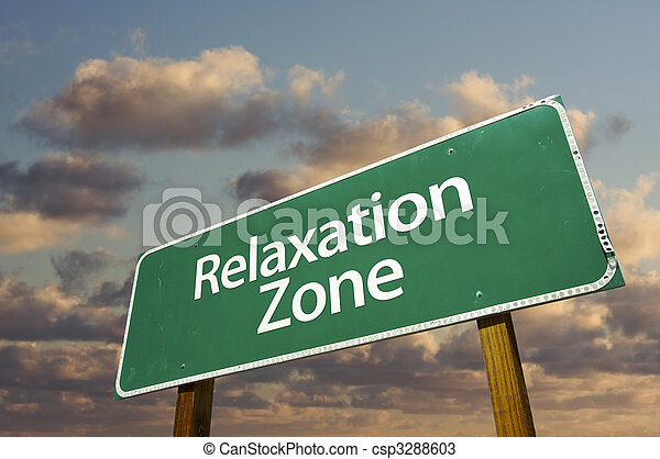 Relaxation Zone Green Road Sign and Clouds - csp3288603
