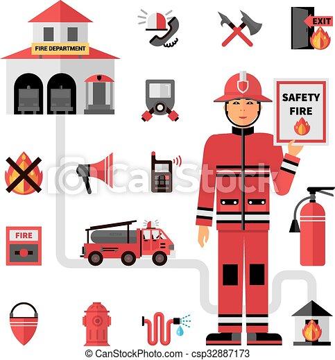 Fire Department Flat Icons Set  - csp32887173
