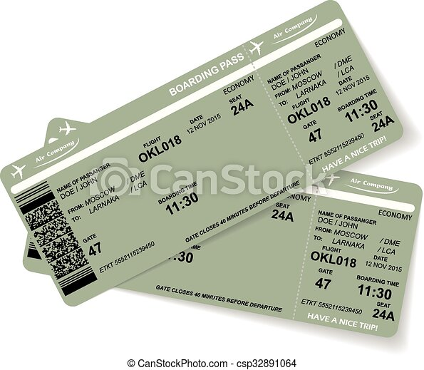Pattern of two airline boarding pass ticket - csp32891064
