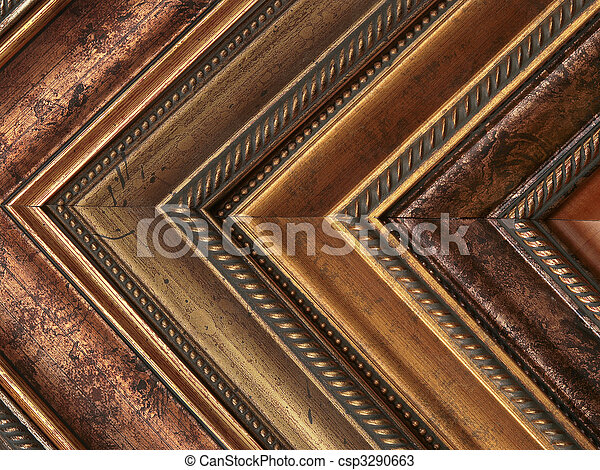 Picture frame samples gold and bronze - csp3290663