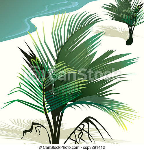 Clip Art of Coconut tree - Illustration of a coconut tree in a beach ...