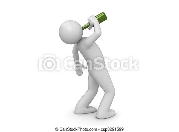 Drunk man with green bottle - csp3291599