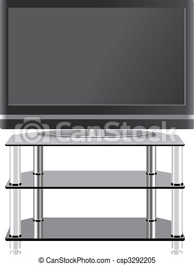 Flat Panel television on modern tv stand - csp3292205
