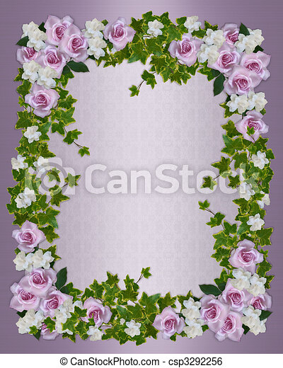 Roses and gardenias floral border - csp3292256