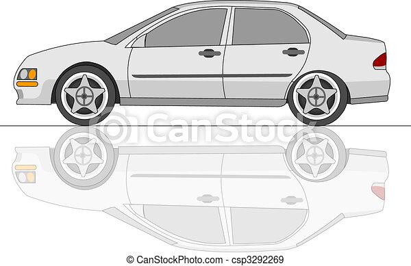 White Sedan Car with reflection - csp3292269
