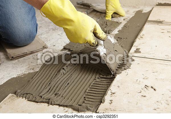 Tile flooring installation - csp3292351