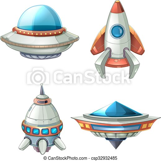 Vecteur de vaisseau spatial ovnis vecteur ensemble dessin anim csp32932485 recherchez - Dessin vaisseau spatial ...