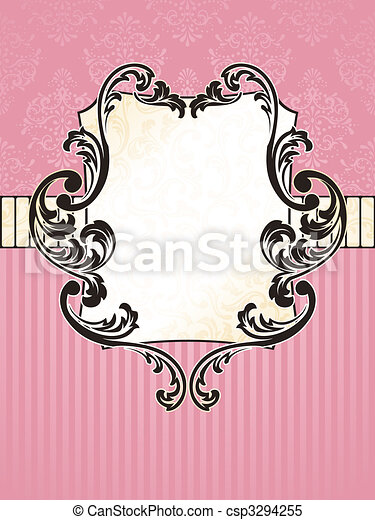 Elegant rectangular French vintage label - csp3294255
